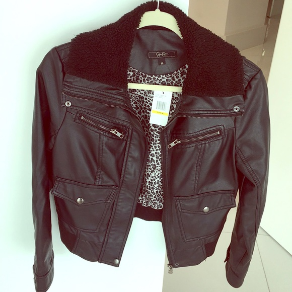 0b7f095750a Jessica Simpson black leather jacket. Size M. New